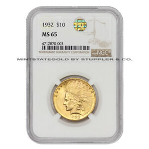 1932 $10 GOLD INDIAN NGC MS65 PQ APPROVED EAGLE GEM GRADE PHILADELPHIA COIN