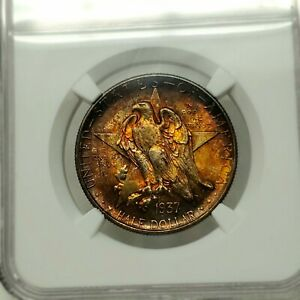 Click now to see the BUY IT NOW Price! 1937 D 50C TEXAS NGC MS68   INCREDIBLE TONING   TOP QUALITY