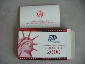 2000 UNITED STATED MINT SILVER  PROOF SET NO COINS