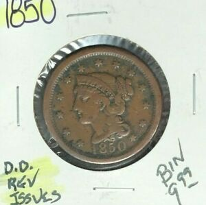 1850 LARGE CENT   REVERSE ISSUES  NICE COIN  REFD/D