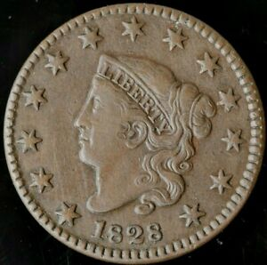 1828 XF  CHOCOLATE BROWN LARGE CENT PERFECT SURFACES
