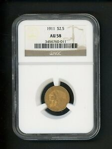 1911 US GOLD INDIAN QUARTER EAGLE $2.50 NGC AU 58 ABOUT UNCIRCULATED ORIG PATINA