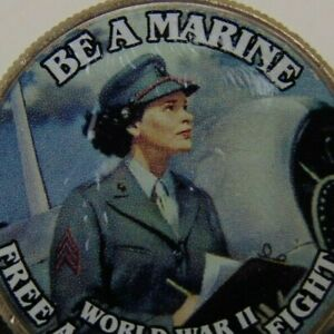 WW2 POSTER COIN   MARINE RECRUITMENT COIN    COLORIZED KENNEDY HALF DOLLAR