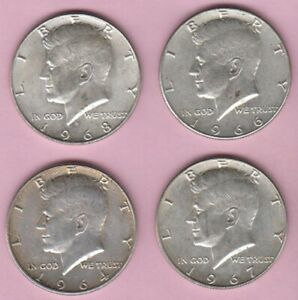 HALF DOLLAR LOT OF 4 SILVER KENNEDY HALF DOLLARS 1964P 1966P 1967P AND 1968D