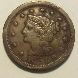 1854 LARGE CENT M 82  REVERSE GONE