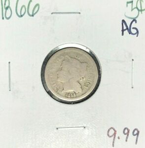 1866 THREE CENT NICKEL   AG  NICE COIN