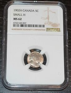 1902 H CANADA SILVER 5C NICKEL GRADED BY NGC AS MS 62