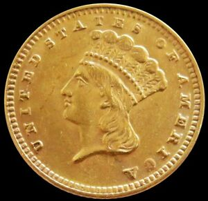 1889 GOLD USA INDIAN PRINCESS HEAD $1 DOLLAR TYPE 3 COIN ABOUT UNCIRCULATED