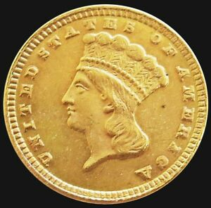 1885 GOLD USA INDIAN PRINCESS HEAD $1 DOLLAR TYPE 3 COIN ABOUT UNCIRCULATED