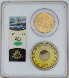 Click now to see the BUY IT NOW Price! SSCA 1855 $20 GOLD LIBERTY PCGS MS 62 CAC          SS CENTRAL AMERICA SHIPWRECK