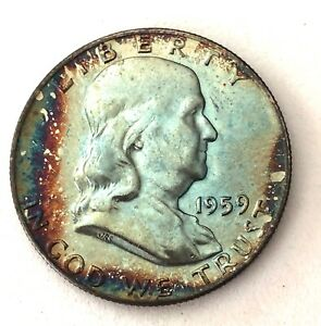 Click now to see the BUY IT NOW Price! LOOK_1959  D GORGEOUS TONED FRANKLIN  SILVER HALF DOLLAR RAINBOW REVERSE