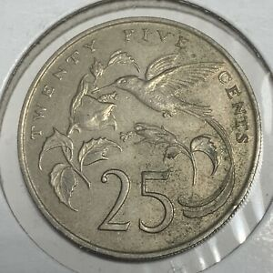 JAMAICA 1986 25 CENTS LY FINE NICE OLD LARGE CIRCULATED COIN