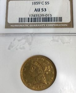 LOOK__1859 C  CHARLOTTE BRANCH MINT  NGC AU 53 U.S. $5.00 GOLD COIN BOLD OBV