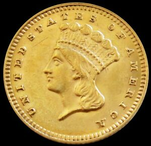 1874 GOLD UNITED STATES PRINCESS HEAD $ 1 DOLLAR COIN TYPE 3 ABOUT UNC CONDITION