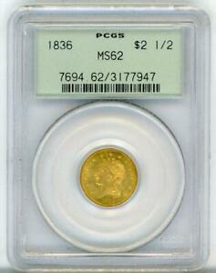 1836 $2.50 CLASSIC HEAD GOLD GREEN LABEL MS 62 PCGS