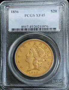 1856 GOLD UNITED STATES $20 LIBERTY DOUBLE EAGLE TYPE 1 PCGS LY FINE 45