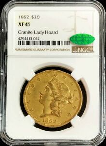 1852 GOLD US $20 LIBERTY DOUBLE EAGLE GRANITE LADY HOARD TYPE 1 NGC XF 45 CAC