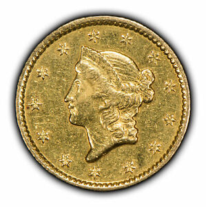 1849 G$1 LIBERTY HEAD GOLD DOLLAR   TYPE 1   BETTER DATE   CLOSED WREATH   Y2183