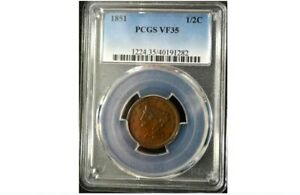 1851 HALF CENT    PCGS VF35    CHOICE BROWN    GET 5   OFF AT CHECKOUT