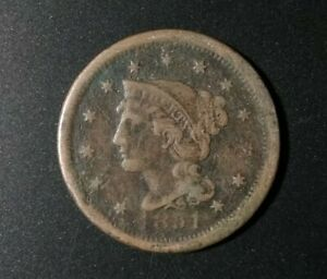 1851 LARGE ONE CENT BRAIDED HAIR COIN