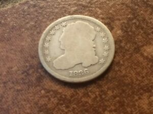 1836 USA CAPPED BUST SILVER DIME IN G/VG