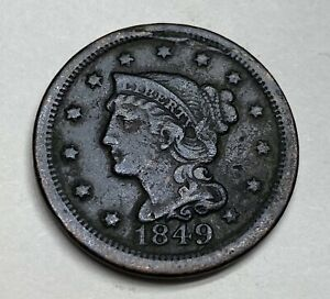 ESTATE FIND 1849 BRAIDED HAIR LARGE CENT L04089