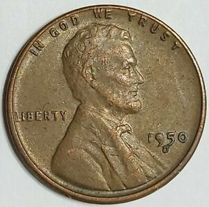 1950 D   SOLID 9   LINCOLN WHEAT ONE CENT PENNY ERROR. DENVER MINT. HIGH GRADE