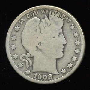 1908 D     BETTER DATE     BARBER HALF DOLLAR  236 301