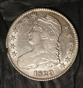 1829 CAPPED BUST HALF DOLLAR O 1113   MINT MADE PLANCHET ERROR  AU