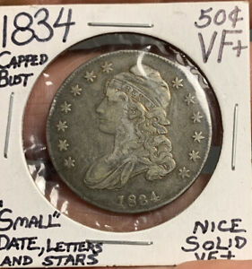 1834 CAPPED BUST HALF DOLLAR ERROR COIN SMALL DATE LETTERS AND STARS