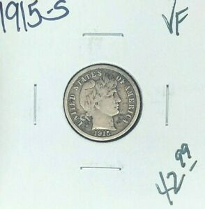 1915 S BARBER SILVER DIME   VF  NICE COIN
