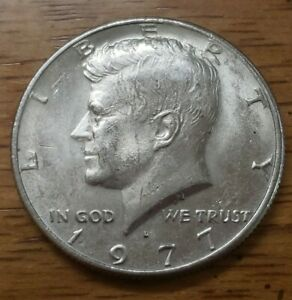 1977 D NO/LY FAINT FG KENNEDY HALF DOLLAR MINTING ERROR