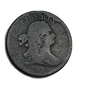 ELF DRAPED BUST HALF CENT 1804 CROSSLET 4 STEMS  CUD AT RTY