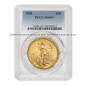 1928 $20 GOLD SAINT GAUDENS DOUBLE EAGLE PCGS MS65  GEM GRADED PHILADELPHIA
