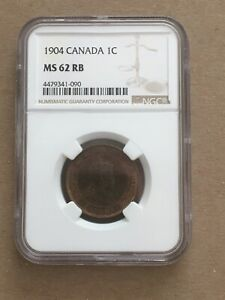 CANADA CANADIAN LARGE CENT PENNY 1904 NGC MS 62