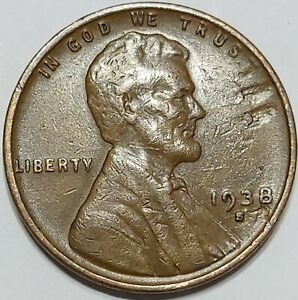1938 S LINCOLN WHEAT ONE CENT PENNY 1. SAN FRANCISCO MINT  LAMINATION ERROR