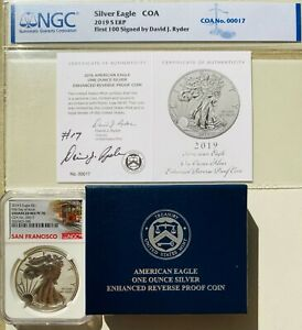 Click now to see the BUY IT NOW Price! 2019 S ENHANCED REVERSE PROOF SILVER EAGLE NGC PF70 DAVID RYDER SIGNED COA 00017