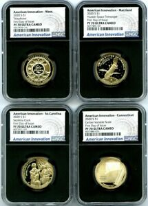 Click now to see the BUY IT NOW Price! 2020 S $1 SC CT MA MD NGC PF70 UC AMERICAN INNOVATION FIRST DAY ISSUE 4 COIN SET