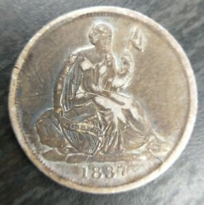 1837 SEATED LIBERTY HALF DIME H10C NO STARS SMALL DATE VF  OR LY FINE XF