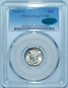 Click now to see the BUY IT NOW Price! 1945 D PCGS MS67 FB CAC FULL SPLIT BANDS MERCURY DIME