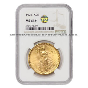 1924 $20 SAINT GAUDENS NGC MS64  PQ APPROVED PLUS GRADED GOLD DOUBLE EAGLE COIN