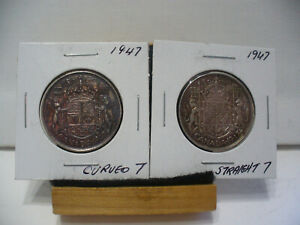 Click now to see the BUY IT NOW Price! LOT OF 2 1947  CANADA  SILVER  HALF  DOLLAR  50 CENT PIECE  47   BOTH VARIETIES