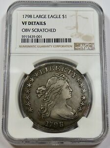 1798 NGC VF DETAILS SILVER LARGE EAGLE DRAPED BUST DOLLAR $1 US COIN 26883B