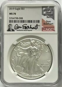 2019 ASE $1 NGC MS70 DON EVERHART HAND SIGNED 1OZ .999 SILVER COIN IN MINT SLAB