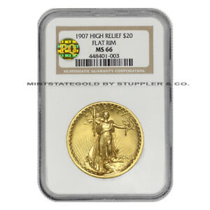 Click now to see the BUY IT NOW Price! 1907 $20 SAINT GAUDENS NGC MS66 HIGH RELIEF FLAT RIM PQ APPROVED DOUBLE EAGLE