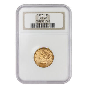 Click now to see the BUY IT NOW Price! 1907 $5 GOLD LIBERTY HALF EAGLE NGC MS68 GEM GRADED COIN TIED FOR FINEST KNOWN