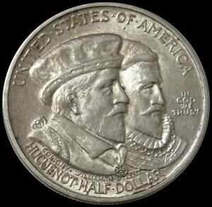 1924 SILVER HUGUENOT WALLOON TERCENTENARY 50C COMMEMORATIVE HALF DOLLAR