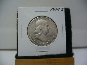 Click now to see the BUY IT NOW Price! 1954 S   BEN FRANKLIN   HALF  DOLLAR      50 CENT PIECE   COIN   54S  GOOD GRADE