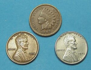 OLD US COIN LOT  OF  3  COINS   STEEL  CENT  WHEAT &  INDIAN  CENTS  90409205