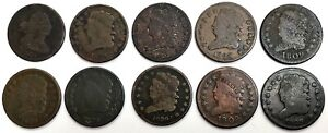 10  1805  1829 UNITED STATES DRAPED BUST & CLASSIC HEAD HALF CENT CIRC COIN LOT